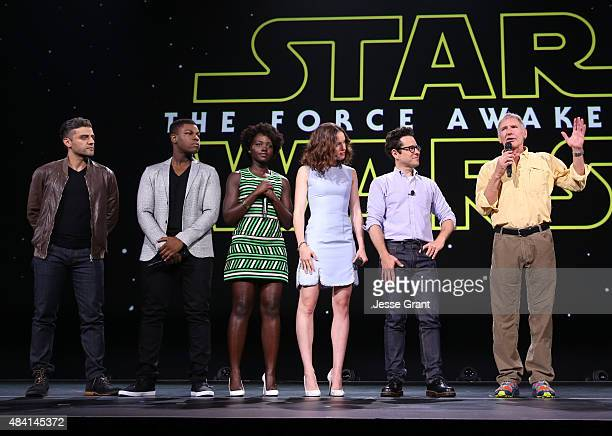 Actors Oscar Isaac John Boyega Lupita Nyong'o Daisy Ridley director JJ Abrams and actor Harrison Ford of STAR WARS THE FORCE AWAKENS took part today...