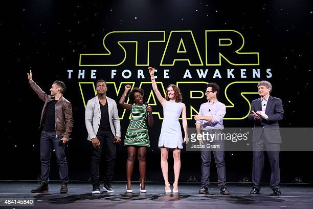 Actors Oscar Isaac John Boyega Lupita Nyong'o Daisy Ridley director JJ Abrams of STAR WARS THE FORCE AWAKENS and Chairman of the Walt Disney Studios...