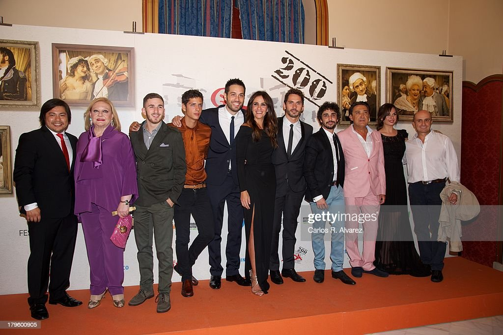 Actors (L-R) Oscar Reyes, Marisol Ayuso, David Castillo, Eduardo Casanova, Dani Martinez, Melani Olivares, Paco Leon, Canco Rodriguez, Mariano Pena, Miren Ibarguren and Pepe Viyuela attend the 'Aida' new season red carpet during the day four of 5th FesTVal Television Festival 2013 at the Villa Suso Palace on September 5, 2013 in Vitoria-Gasteiz, Spain.