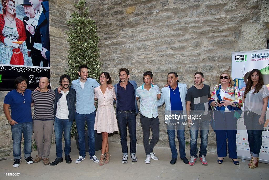 Actors (L-R) Oscar Reyes, Pepe Viyuela, Canco Rodriguez, Dani Martinez, Melani Olivares, Paco Leon, Eduardo Casanova, Mariano Pena, David Castillo, Marisol Ayuso and Miren Ibarguren attend the 'Aida' new season presentation during the day four of 5th FesTVal Television Festival 2013 at the Villa Suso Palace on September 5, 2013 in Vitoria-Gasteiz, Spain.