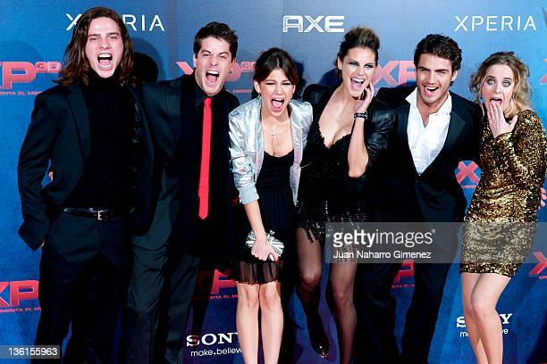 Actors Oscar Sinela Luis Fernandez Ursula Corbero Amaia Salamanca Maxi Iglesias and Alba Ribas attend 'XP3D' premiere at the Callao cinema on...