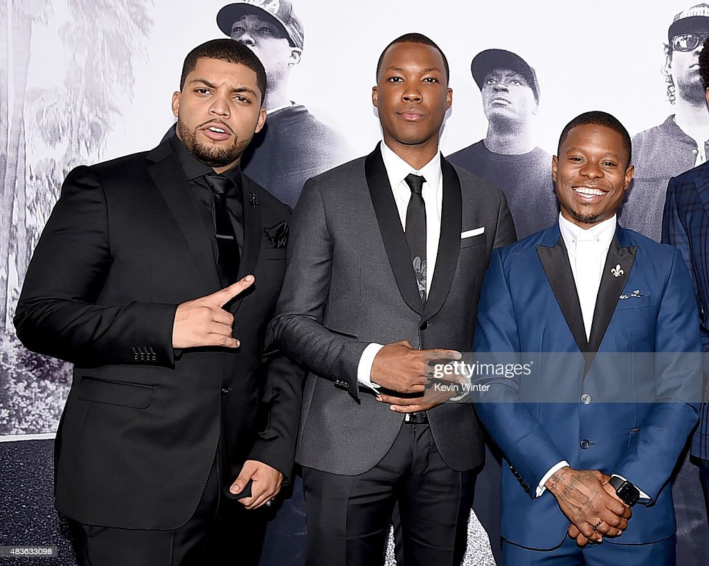 Actors O'Shea Jackson, Jr., Corey Hawkins and Jason Mitchell arrive at the premiere of Universal Pictures and Legendary Pictures' 'Straight Outta Compton' at the Microsoft Theatre on August 10, 2015 in Los Angeles, California.