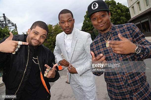 Actors O'Shea Jackson Jr Corey Hawkins and Jason Mitchell attend the 2016 MTV Movie Awards at Warner Bros Studios on April 9 2016 in Burbank...