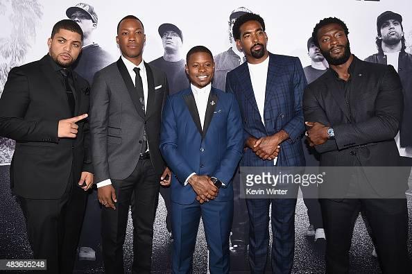 Actors O'Shea Jackson Jr Corey Hawkins Jason Mitchell Marlon Yates Jr and Aldis Hodge attend the Universal Pictures and Legendary Pictures' premiere...