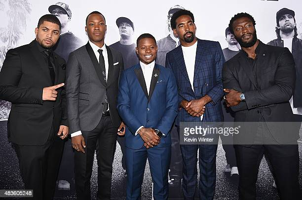 Actors O'Shea Jackson Jr Corey Hawkins Jason Mitchell Marlon Yates Jr and Aldis Hodge attend the Universal Pictures and Legendary Pictures' premiere...