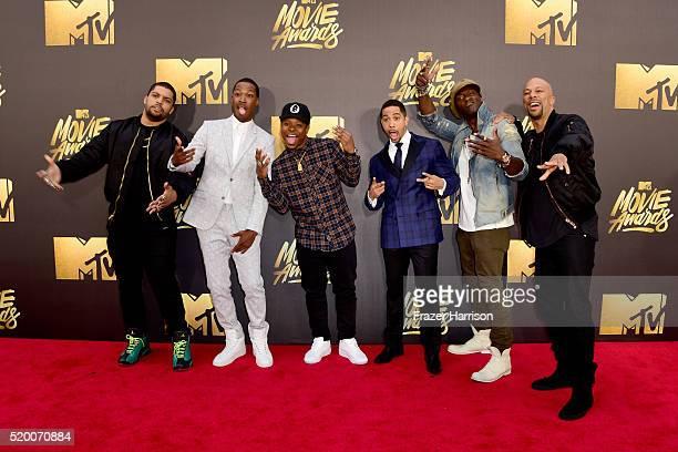 Actors O'Shea Jackson Jr Corey Hawkins Jason Mitchell Neil Brown Jr Aldis Hodge and Common attend the 2016 MTV Movie Awards at Warner Bros Studios on...