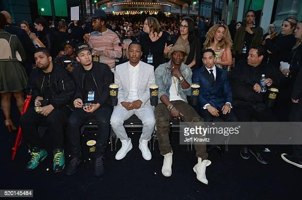 Actors O'Shea Jackson Jr Darrel Jackson Corey Hawkins Aldis Hodge Neil Brown Jr and producer DJ Yella attend the 2016 MTV Movie Awards at Warner Bros...