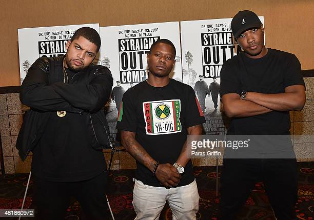 Actors O'Shea Jackson Jr Jason Mitchell and Corey Hawkins attend 'Straight Outta Compton' VIP Screening With Director/ Producer F Gary Gray Producer...
