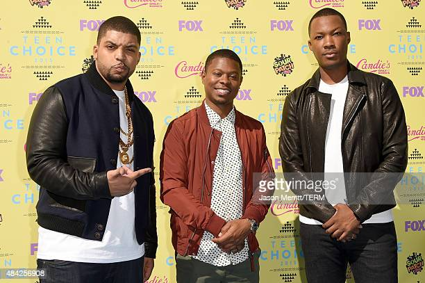 Actors O'Shea Jackson Jr Jason Mitchell and Corey Hawkins attend the Teen Choice Awards 2015 at the USC Galen Center on August 16 2015 in Los Angeles...