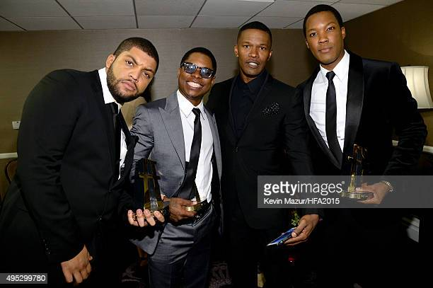 Actors O'Shea Jackson Jr Jason Mitchell Jamie Foxx and Corey Hawkins pose with the Hollywood Breakout Ensemble Award for 'Straight Outta Compton'...