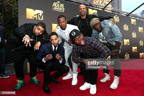 Actors O'Shea Jackson Jr Neil Brown Jr Corey Hawkins recording artist/actor Common actors Jason Mitchell and Aldis Hodge attend the 2016 MTV Movie...