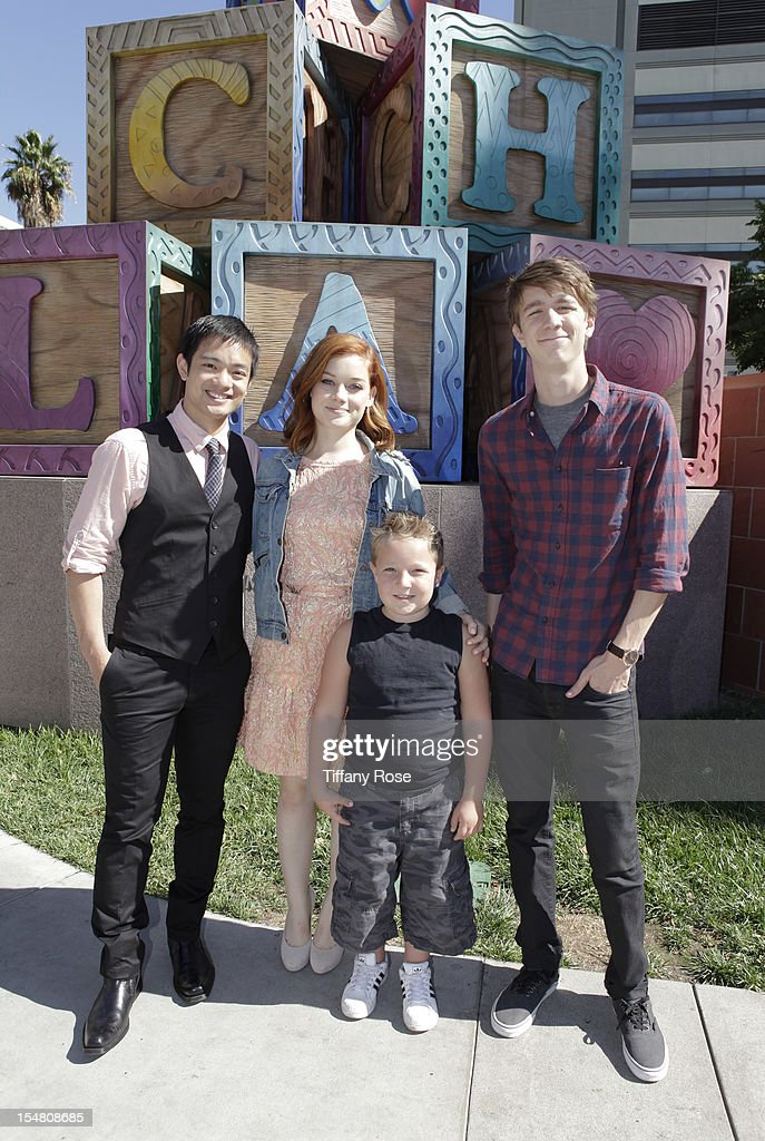 Actors Osric Chau Jane Levy Jackson Nicoll and Thomas Mann attend 'Fun Size' Special Screening At Children's Hospital Los Angeles at Childrens...