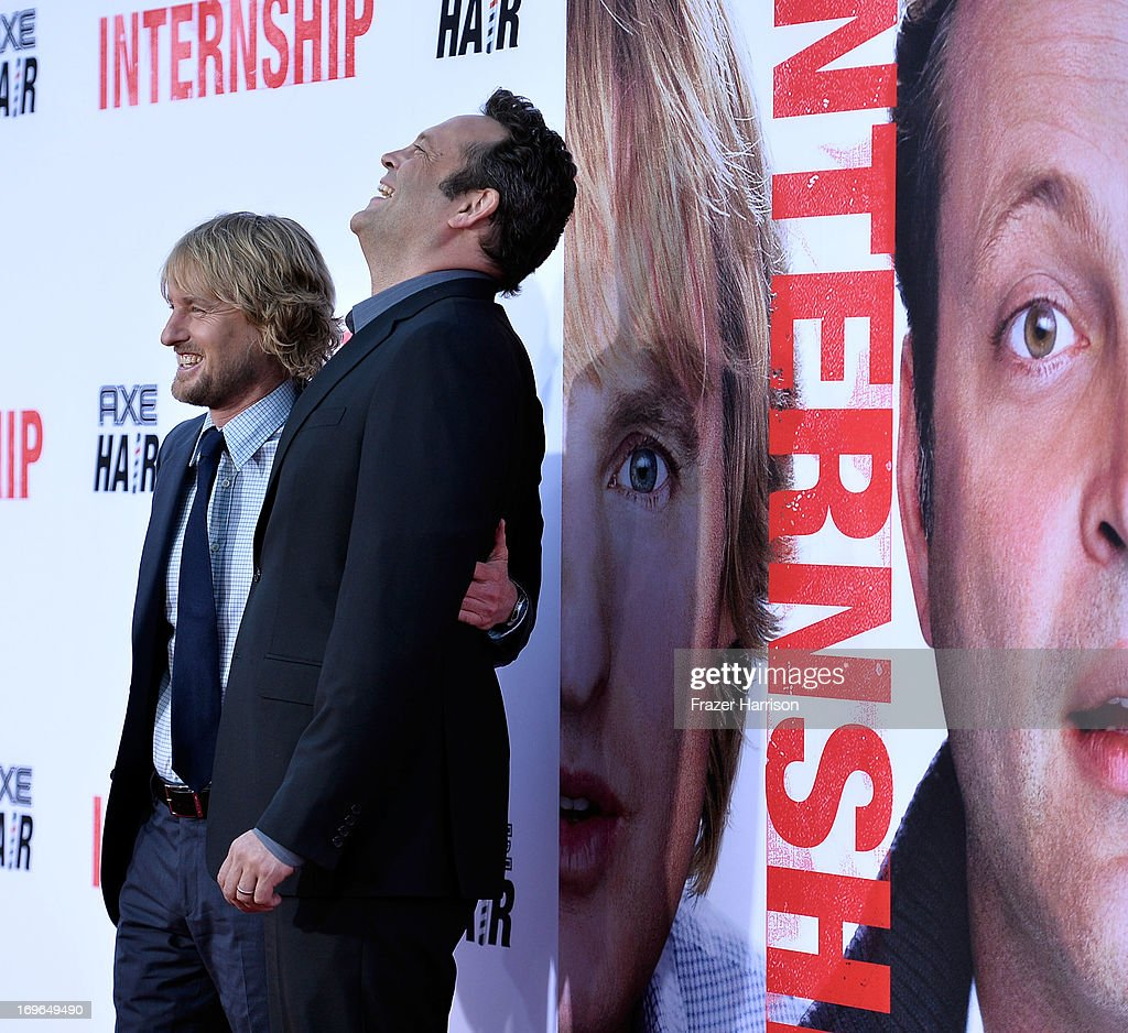 Actors <a gi-track='captionPersonalityLinkClicked' href=/galleries/search?phrase=Owen+Wilson&family=editorial&specificpeople=202027 ng-click='$event.stopPropagation()'>Owen Wilson</a> and <a gi-track='captionPersonalityLinkClicked' href=/galleries/search?phrase=Vince+Vaughn&family=editorial&specificpeople=182440 ng-click='$event.stopPropagation()'>Vince Vaughn</a> arrives at the Premiere Of Twentieth Century Fox's 'The Internship' on May 29, 2013 in Westwood, California.