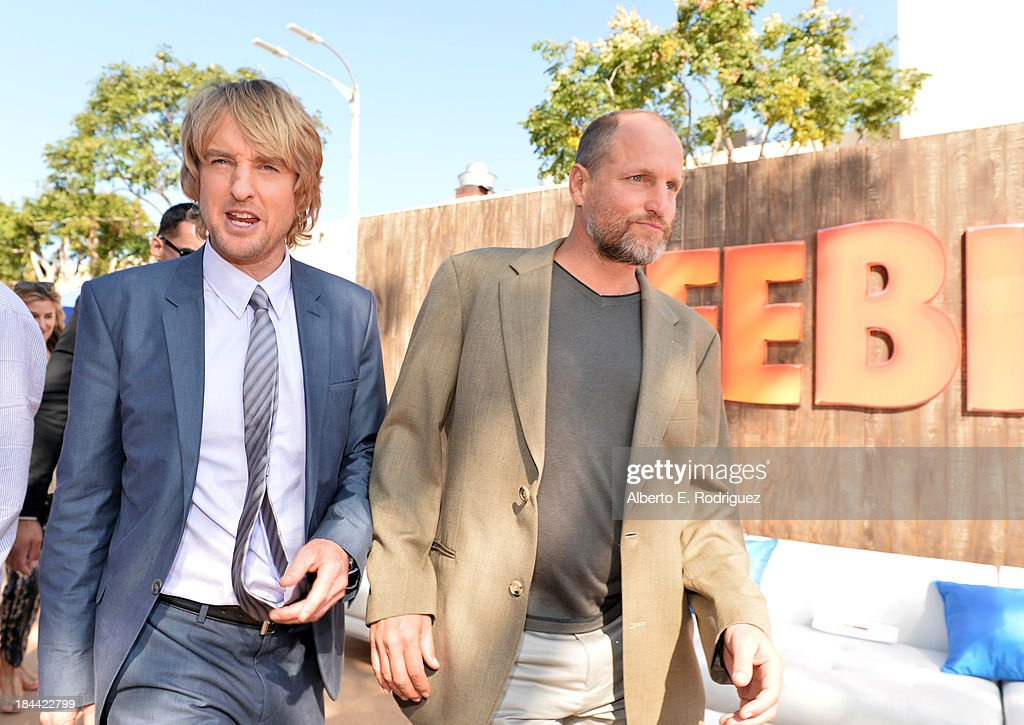 Actors <a gi-track='captionPersonalityLinkClicked' href=/galleries/search?phrase=Owen+Wilson&family=editorial&specificpeople=202027 ng-click='$event.stopPropagation()'>Owen Wilson</a> (L) and Woody Harrelson attend the premiere of Relativity Media's 'Free Birds' after party at the Westwood Village Theatre on October 13, 2013 in Hollywood, California.