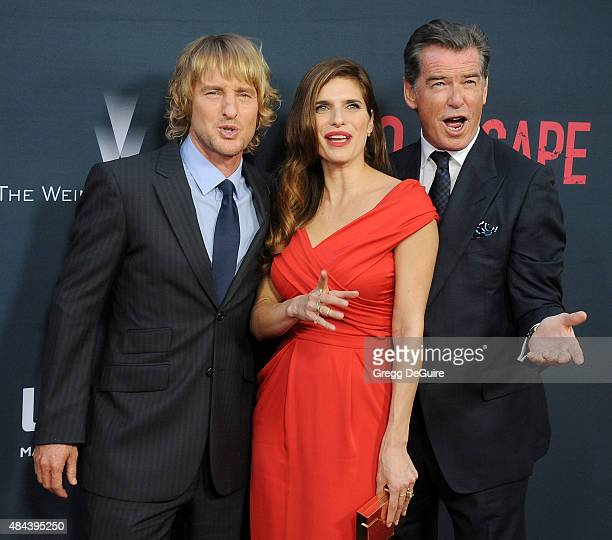 Actors Owen Wilson Lake Bell and Pierce Brosnan arrive at the premiere of The Weinstein Company's 'No Escape' at Regal Cinemas LA Live on August 17...