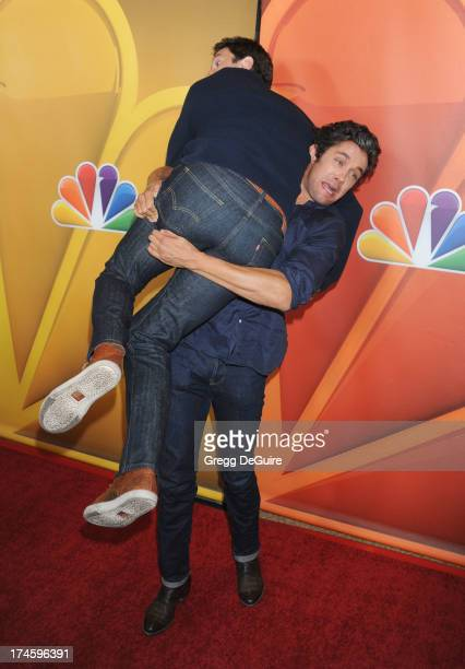 Actors Pablo Schreiber and Neal Bledsoe arrive at the 2013 NBC Television Critics Association's Summer Press Tour at The Beverly Hilton Hotel on July...