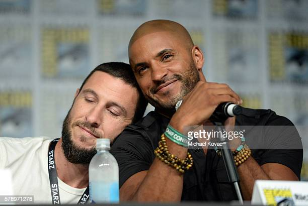 Actors Pablo Schreiber and Ricky Whittle attend the 'American Gods' panel during ComicCon International 2016 at San Diego Convention Center on July...