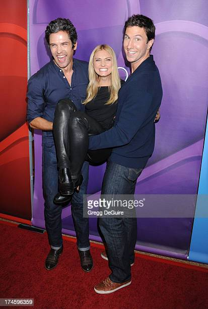 Actors Pablo Schreiber Spencer Grammer and Neal Bledsoe arrive at the 2013 NBC Television Critics Association's Summer Press Tour at The Beverly...