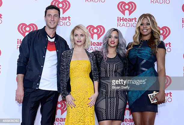 Actors Pablo Schreiber Taryn Manning Dascha Polanco and Laverne Cox pose in the press room during the 2014 iHeartRadio Music Festival at MGM Grand...