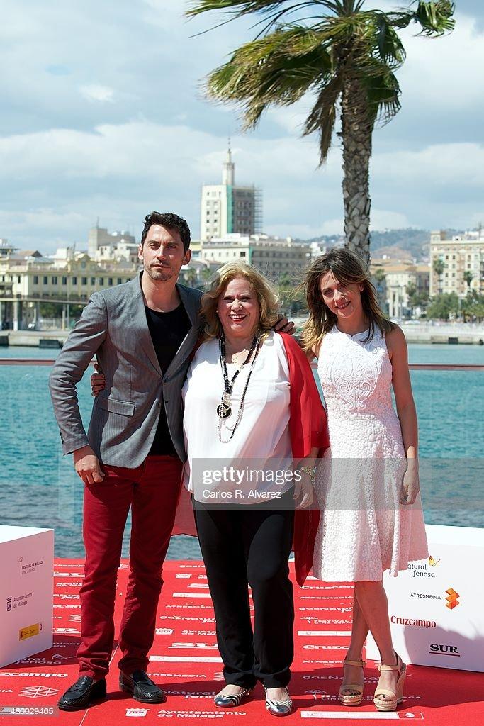 Actors Paco Leon Carmina Barrios and Maria Leon attend the 'Carmina y Amen' photocall during the 17th Malaga Film Festival on March 22 2014 in Malaga...