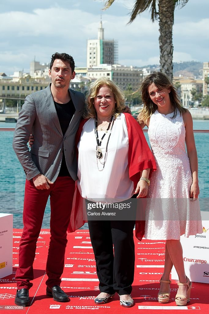 Actors Paco Leon Garmina Barrios and Maria Leon attend the 'Carmina y Amen' photocall during the 17th Malaga Film Festival on March 22 2014 in Malaga...
