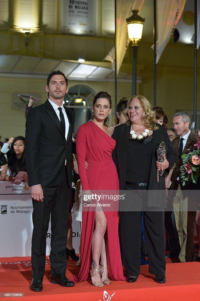 Actors Paco Leon Maria Leon and Carmina Barrios attend the 'Carmina y Amen' premierel during the 17th Malaga Film Festival on March 22 2014 in Malaga...