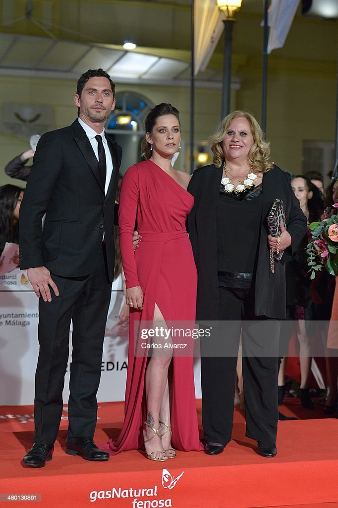 Actors Paco Leon, Maria Leon and Carmina Barrios attend the 'Carmina y Amen' premierel during the 17th Malaga Film Festival at the Cervantes Theater on March 22, 2014 in Malaga, Spain.