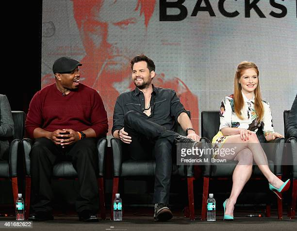 Actors Page Kennedy Kristoffer Polaha and Genevieve Angelson speak onstage during the 'Backstrom' panel discussion at the FOX portion of the 2015...