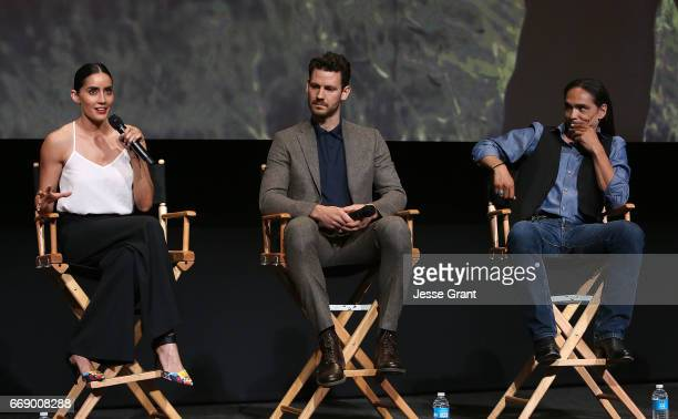 Actors Paola Nunez Henry Garrett and Zahn McClarnon attend AMC's 'The Son' FYC Screening Panel Discussion on April 15 2017 in Los Angeles California
