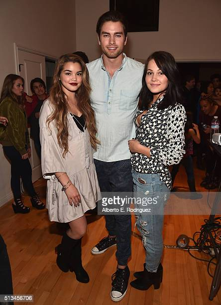 Actors Paris Berelc Pierson Fode and Kelli Berglund attend the premiere party of Disney XD's 'Lab Rats Elite Force' on March 2 2016 in Los Angeles...