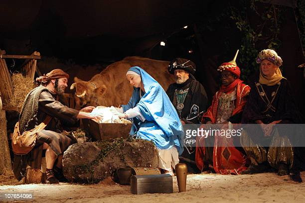 Actors participate in a performance of the Nativity on December 17 2010 in SaintHilaireduHarcouet northwestern France AFP PHOTO KENZO TRIBOUILLARD