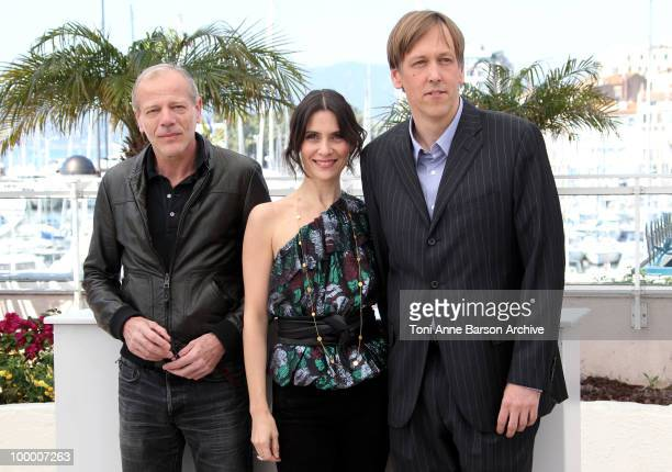 Actors Pascal Greggory Geraldine Pailhas and director Lodge Kerrigan attend the 'Rebecca H ' Photo Call held at the Palais des Festivals during the...
