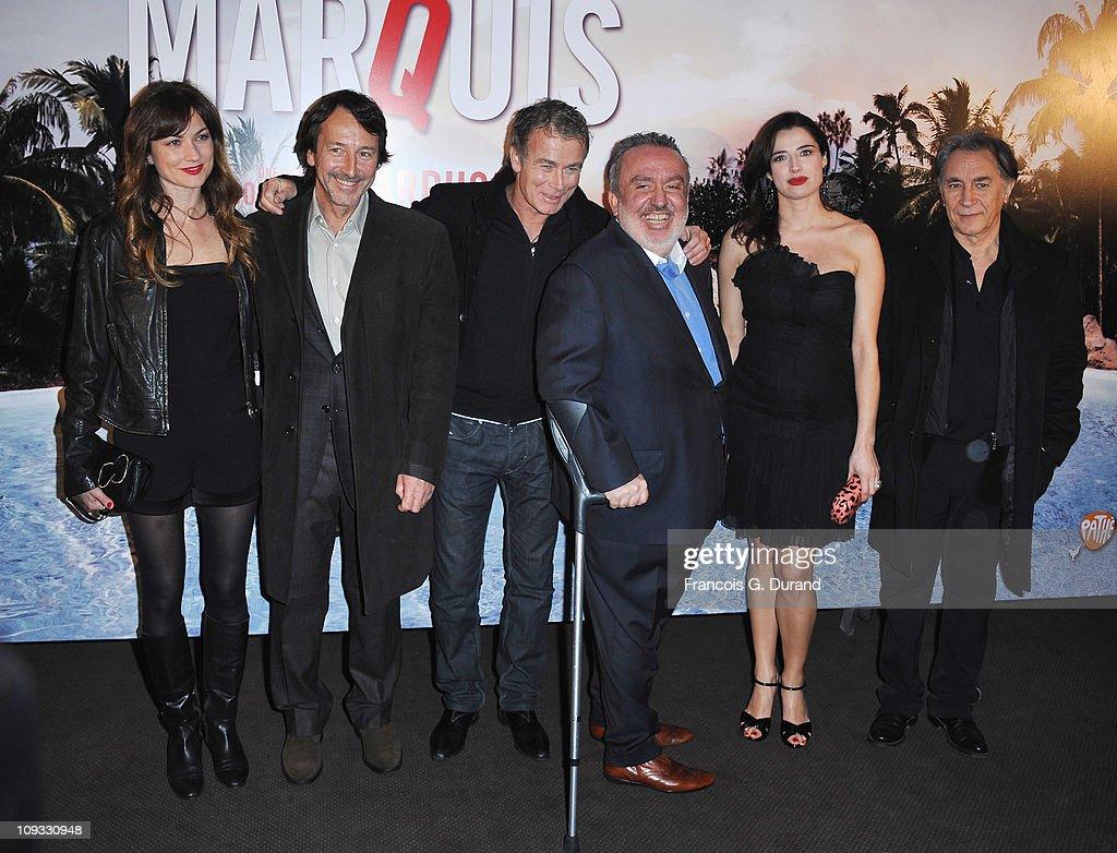 Actors Pascale Louange JeanHugues Anglade Franck Dubosc director Dominique Farrugia Luisa Ranieri and Richard Berry attend 'Le Marquis' Paris...