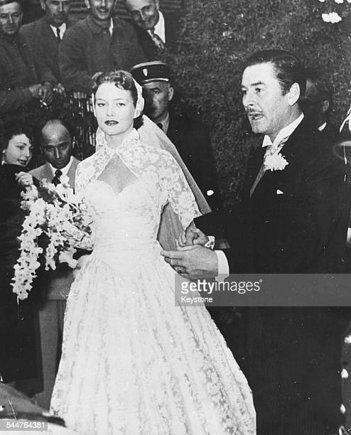 Actors Patrice Wymore and Errol Flynn on their wedding day Nice France October 26th 1950