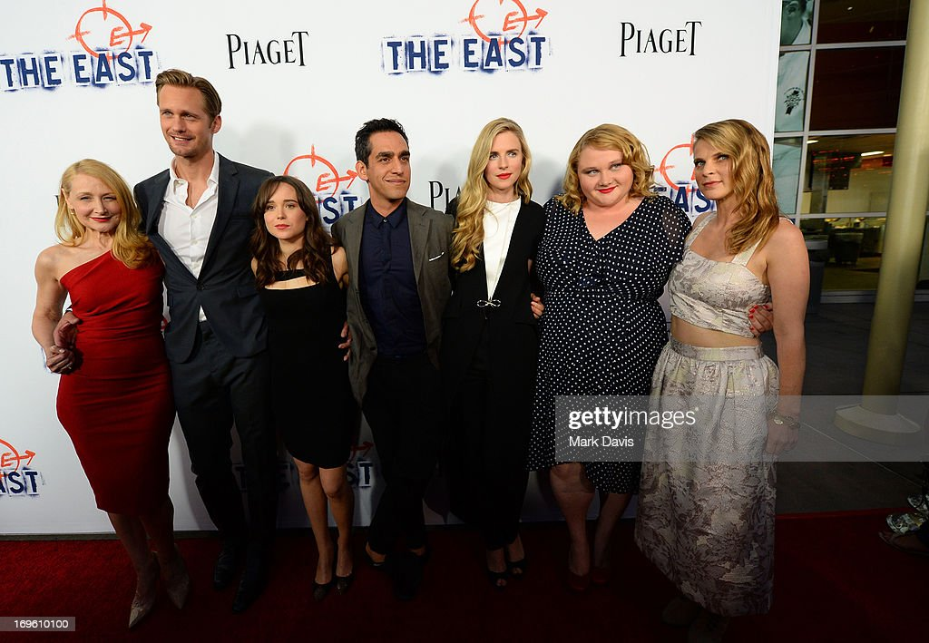 Actors Patricia Clarkson, Alexander Skarsgard and Ellen Page, writer/director Zal Batmanglij, writer/actress Brit Marling and actresses Danielle Macdonald and Hillary Baack arrive at the premiere of Fox Searchlight Pictures' 'The East' presented by Piaget at ArcLight Hollywood on May 28, 2013 in Hollywood, California.