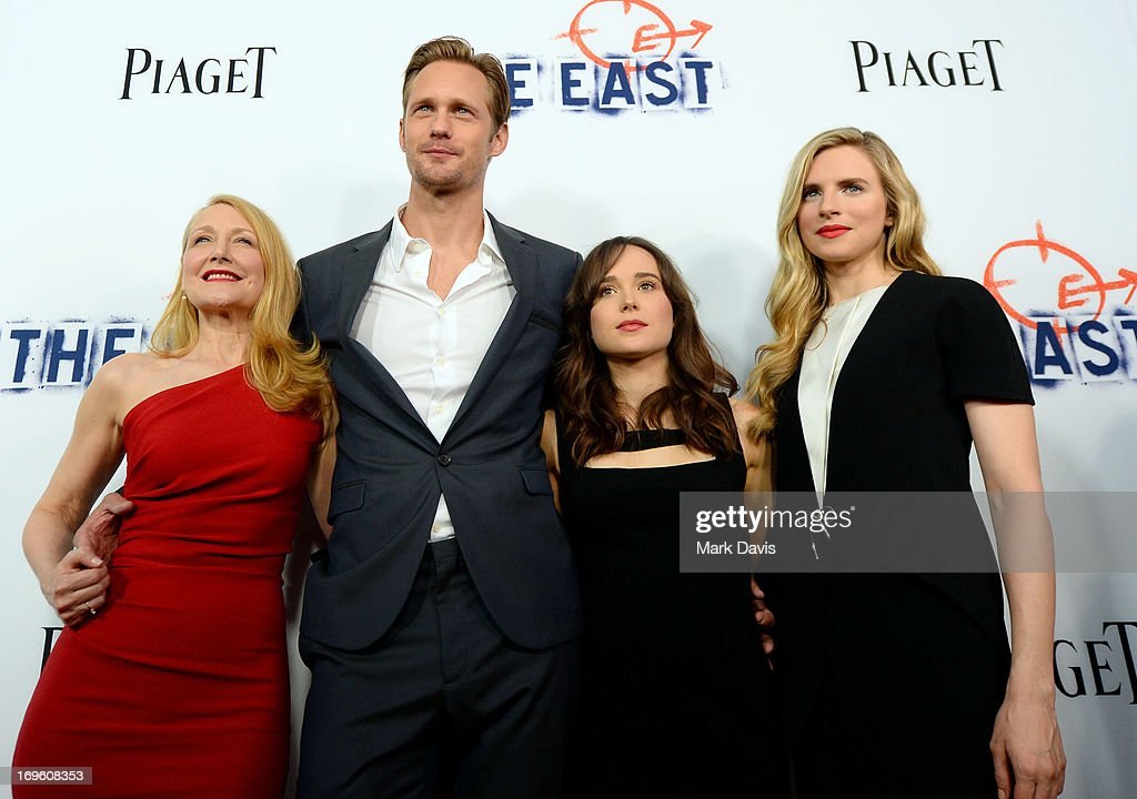 Actors <a gi-track='captionPersonalityLinkClicked' href=/galleries/search?phrase=Patricia+Clarkson&family=editorial&specificpeople=202994 ng-click='$event.stopPropagation()'>Patricia Clarkson</a>, Alexander Skarsgard, <a gi-track='captionPersonalityLinkClicked' href=/galleries/search?phrase=Ellen+Page&family=editorial&specificpeople=623049 ng-click='$event.stopPropagation()'>Ellen Page</a>, and <a gi-track='captionPersonalityLinkClicked' href=/galleries/search?phrase=Brit+Marling&family=editorial&specificpeople=701867 ng-click='$event.stopPropagation()'>Brit Marling</a> arrive at the premiere of Fox Searchlight Pictures' 'The East' presented by Piaget at ArcLight Hollywood on May 28, 2013 in Hollywood, California.