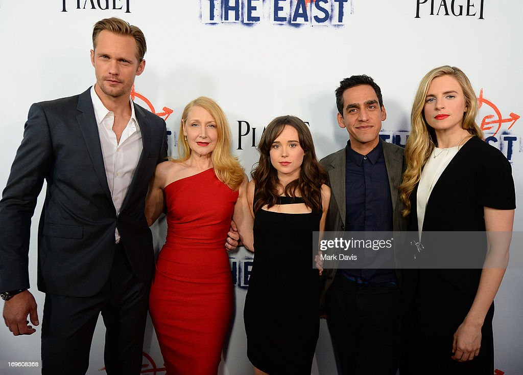 Actors <a gi-track='captionPersonalityLinkClicked' href=/galleries/search?phrase=Patricia+Clarkson&family=editorial&specificpeople=202994 ng-click='$event.stopPropagation()'>Patricia Clarkson</a>, Alexander Skarsgard, <a gi-track='captionPersonalityLinkClicked' href=/galleries/search?phrase=Ellen+Page&family=editorial&specificpeople=623049 ng-click='$event.stopPropagation()'>Ellen Page</a>, Writer/Director <a gi-track='captionPersonalityLinkClicked' href=/galleries/search?phrase=Zal+Batmanglij&family=editorial&specificpeople=4619710 ng-click='$event.stopPropagation()'>Zal Batmanglij</a>	, and Actress <a gi-track='captionPersonalityLinkClicked' href=/galleries/search?phrase=Brit+Marling&family=editorial&specificpeople=701867 ng-click='$event.stopPropagation()'>Brit Marling</a> arrive at the premiere of Fox Searchlight Pictures' 'The East' presented by Piaget at ArcLight Hollywood on May 28, 2013 in Hollywood, California.
