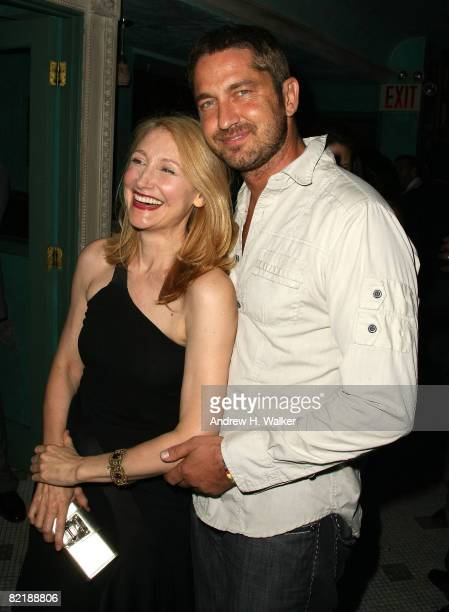 Actors Patricia Clarkson and Gerard Butler attend the after party for 'Elegy' hosted by The Cinema Society and Glamour at Socialista on August 5 2008...