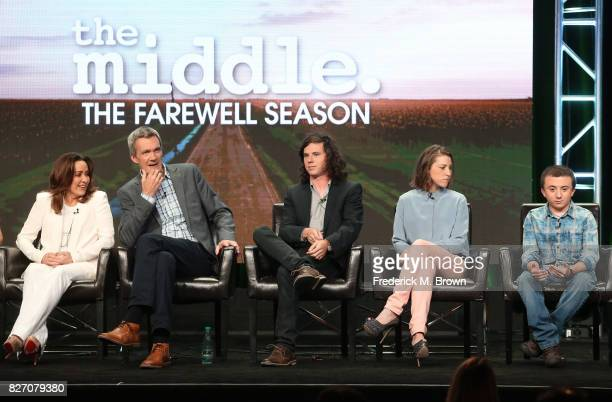 Actors Patricia Heaton Neil Flynn Charlie McDermott Eden Sher and Atticus Shaffer of 'The Middle' speak onstage during the Disney/ABC Television...