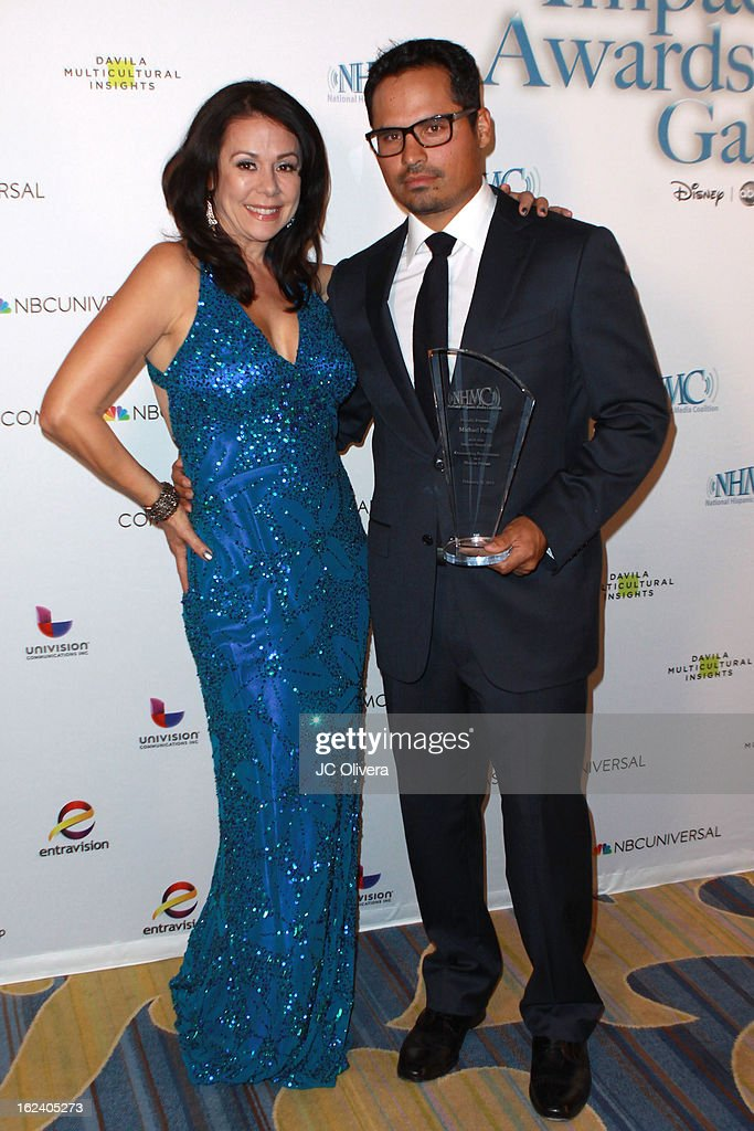 Actors <a gi-track='captionPersonalityLinkClicked' href=/galleries/search?phrase=Patricia+Rae&family=editorial&specificpeople=220492 ng-click='$event.stopPropagation()'>Patricia Rae</a> (L) and Michael Pena attend The National Hispanic Media Coalition's 16th Annual Impact Awards Gala at the Beverly Wilshire Four Seasons Hotel on February 22, 2013 in Beverly Hills, California.