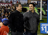 Actors Patrick Dempsey and Gilles Marini attend Monster Energy Supercross Celebrity Night at Angel Stadium of Anaheim on January 23 2016 in Anaheim...