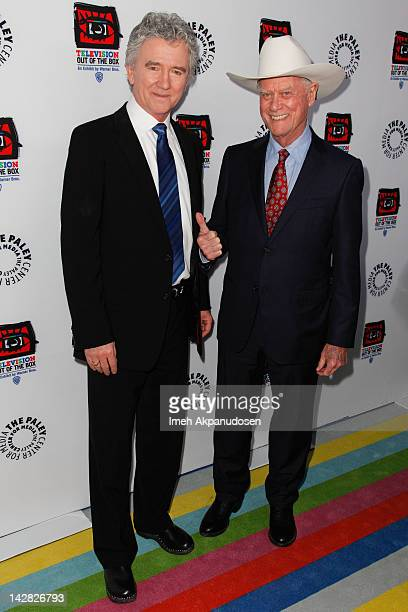 Actors Patrick Duffy and Larry Hagman attend the Paley Center's opening of 'Television Out Of The Box' at The Paley Center for Media on April 12 2012...