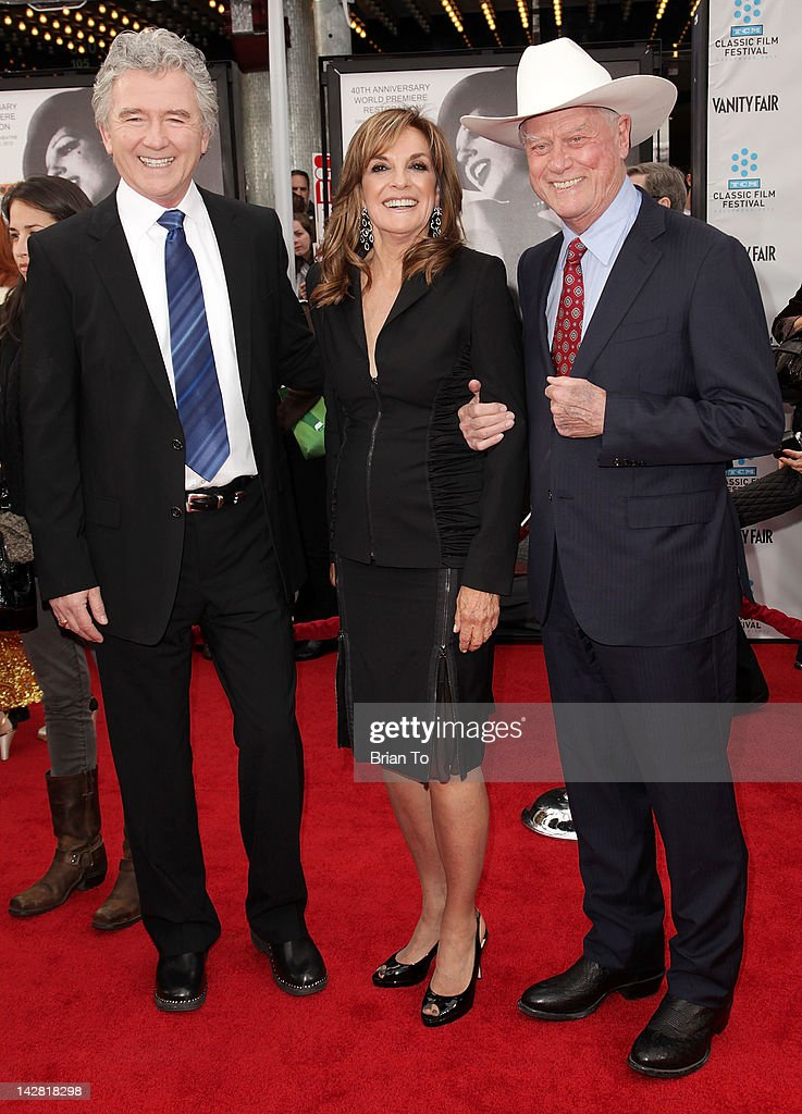 Actors Patrick Duffy, Linda Gray, and Larry Hagman attend 2012 TCM Classic Film Festival opening night gala - The World Premiere of 40th Anniversary restoration of 'Cabaret' - Arrivals at Grauman's Chinese Theatre on April 12, 2012 in Hollywood, California.