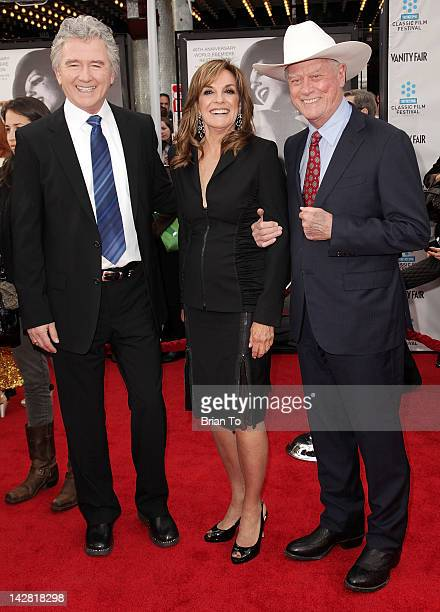 Actors Patrick Duffy Linda Gray and Larry Hagman attend 2012 TCM Classic Film Festival opening night gala The World Premiere of 40th Anniversary...
