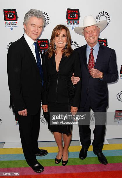 Actors Patrick Duffy Linda Gray and Larry Hagman attend the Paley Center's opening of 'Television Out Of The Box' at The Paley Center for Media on...