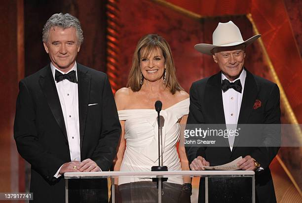 Actors Patrick Duffy Linda Gray and Larry Hagman speak onstage during The 18th Annual Screen Actors Guild Awards broadcast on TNT/TBS at The Shrine...