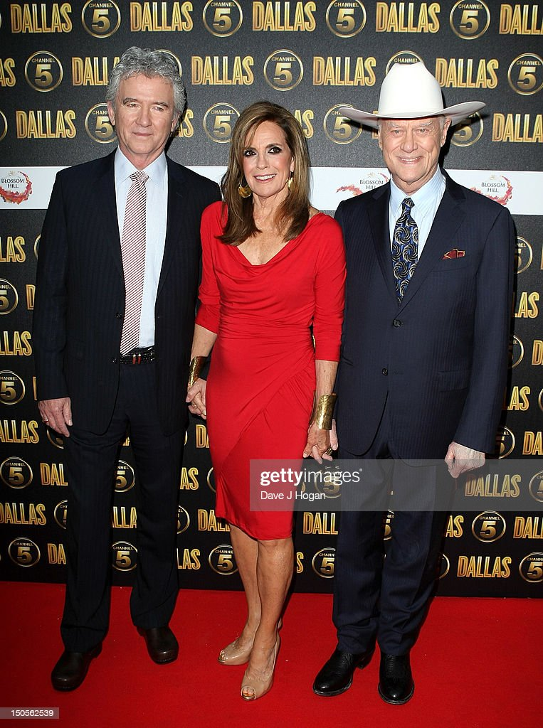 Actors (L-R) <a gi-track='captionPersonalityLinkClicked' href=/galleries/search?phrase=Patrick+Duffy&family=editorial&specificpeople=224536 ng-click='$event.stopPropagation()'>Patrick Duffy</a>, Linda Grey and <a gi-track='captionPersonalityLinkClicked' href=/galleries/search?phrase=Larry+Hagman&family=editorial&specificpeople=210614 ng-click='$event.stopPropagation()'>Larry Hagman</a> arrive at the launch party for the new Channel 5 television series of 'Dallas' at Old Billingsgate on August 21, 2012 in London, England.