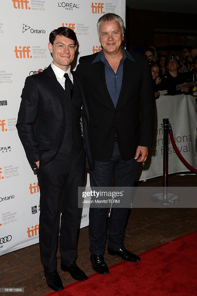 Actors <a gi-track='captionPersonalityLinkClicked' href=/galleries/search?phrase=Patrick+Fugit&family=editorial&specificpeople=213454 ng-click='$event.stopPropagation()'>Patrick Fugit</a> (L) and <a gi-track='captionPersonalityLinkClicked' href=/galleries/search?phrase=Tim+Robbins&family=editorial&specificpeople=182439 ng-click='$event.stopPropagation()'>Tim Robbins</a> attend the 'Thanks For Sharing' premiere during the 2012 Toronto International Film Festival at Ryerson Theatre on September 8, 2012 in Toronto, Canada.