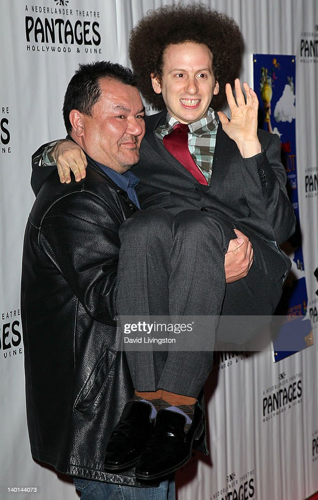 Actors Patrick Gallagher (L) and Josh Sussman attend the opening night of 'Monty Python's Spamalot' at the Pantages Theatre on February 28, 2012 in Hollywood, California.