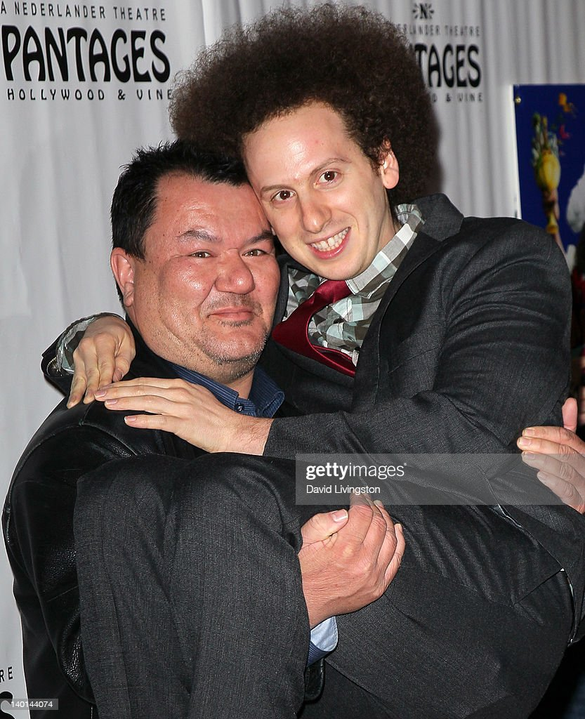 Actors Patrick Gallagher (L) and <a gi-track='captionPersonalityLinkClicked' href=/galleries/search?phrase=Josh+Sussman&family=editorial&specificpeople=5756661 ng-click='$event.stopPropagation()'>Josh Sussman</a> attend the opening night of 'Monty Python's Spamalot' at the Pantages Theatre on February 28, 2012 in Hollywood, California.